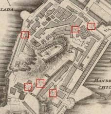 Χάρτης του 1735 που δείχνει τις στέρνες εντός του Παλαιού Φρουρίου