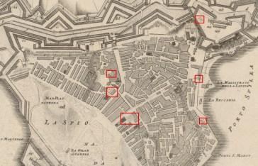 Χάρτης που δείχνει τις θέσεις στερνών εντός τη πόλης και των οχυρώσεων.